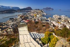 View point of beautiful Alesund town. In Norway Royalty Free Stock Photos