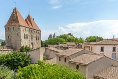 View point of Castle of Carcassonne, Languedoc Roussillon. France Royalty Free Stock Photos