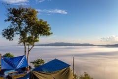 The view point foggy sunrise on the mountain Khao kor Phetchabun royalty free stock photos