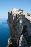 View Point Formentor, Majorca, Spain. Image shows a tourist view point, Formentor, Majorca, Spain. On the left some blue sea and blue sky in the back Stock Image