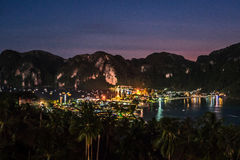 View Point Koh Phi Phi. View from the Koh Phi Phi viewpoint at night Stock Images