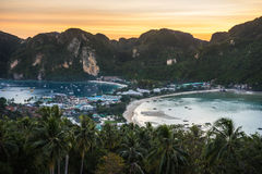 View Point Koh Phi Phi 2. View from the Koh Phi Phi viewpoint at night Royalty Free Stock Photos