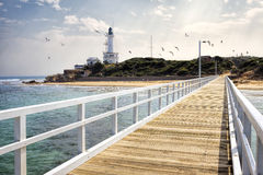 View of Point Lonsdale Lighthouse and jetty Stock Image