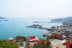 View point. From mountain at koh si chang bay, chonburi Royalty Free Stock Photos