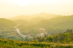View point on mountains while sunrise. Royalty Free Stock Photography