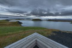 View point near Psudocraters of Skutustadagigar near lake Myvatn, Iceland royalty free stock images