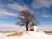 View point Obereck 1. View point Obereck, Bavaria, with chapel and tree Stock Photography