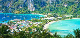 View point at Phi-Phi island seeing tourist resort below Stock Photo