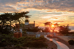 View of Point Pinos lighthouse at sunset, Monterey coast. Stock Image