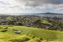View point on Rangitoto Island from Devonport stock photo