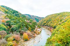 View point of the river and forest in autumn season at arashiyam. A,Japan Royalty Free Stock Photography
