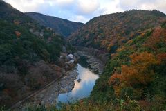 View point of the river and forest in autumn season at arashiyam. A,Japan Royalty Free Stock Photos