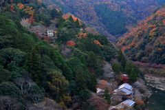 View point of the river and forest in autumn season at arashiyam. A,Japan Stock Photos