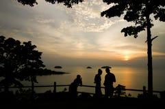 View point sea beach sunset silhouette Stock Photos
