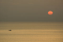 View point sea and sun of sunset silhouette Stock Photography