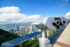 View point with telescope near hongkong Stock Photo