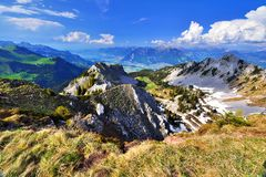 View from Pointe de Bellevue to Rhone valley and lake Geneva Stock Photos