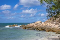 Pointe Ste Marie, Seychelles. View from Pointe Ste Marie on rocks, Praslin island, Seychelles Royalty Free Stock Images