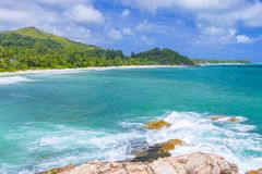 Pointe Ste Marie, Seychelles. A view from Pointe Ste Marie viewpoint in Constance Lemuria hotel, Praslin island, Seychelles Royalty Free Stock Images