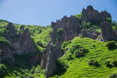 View on pointed peaks, cave city Stock Photography