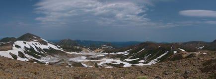 View on the poisonous Ohachidaira caldera in Daisetsuzan National Park Stock Photos