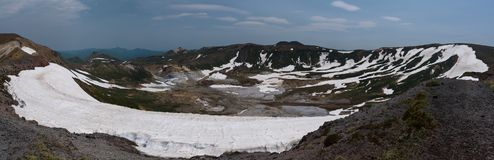 View on the poisonous Ohachidaira caldera in Daisetsuzan National Park Stock Images