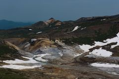 View on the poisonous Ohachidaira caldera in Daisetsuzan National Park Royalty Free Stock Images