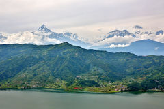View of Pokhara lake with Annapurna in background, Nepal Stock Image