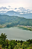 View of Pokhara lake with Annapurna in background, Nepal Royalty Free Stock Image