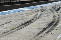 View from the pole position in a racetrack. Royalty Free Stock Image