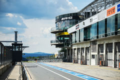 View from the pole position in a racetrack. Stock Images