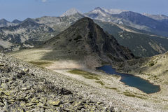 View from Polezhan peak to Upper Gazey Lake, Pirin Mountain, Bulgaria Royalty Free Stock Images
