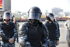 """View of police on protest in Moscow. MOSCOW - MAY 06: View of police on """"March of millions"""" protest Vladimir Putin's government, May 6, 2012 in Moscow near Stock Photography"""