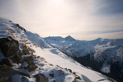 View of the Polish Tatra Mountains on sunset Royalty Free Stock Images