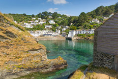 View of Polperro from rocks at entrance to Cornwall fishing village Stock Images