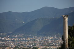View of Pompei city from the historical ruins site Royalty Free Stock Images