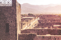 View of Pompeii from the fortified walls of the city. Royalty Free Stock Photography