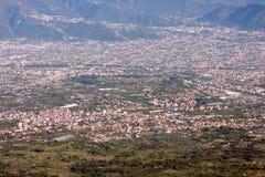View of Pompeii from Vesuvius volcano Italy. Pompeii from Vesuvius volcano Italy Royalty Free Stock Photos