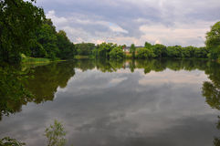 View of Pond in Ostafievo village in Podolsk district, Moscow region, Russia Royalty Free Stock Photos