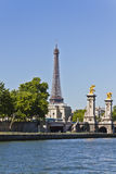View on Pont Alexandre III and Eiffel Tower Royalty Free Stock Image