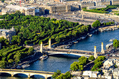 The View of Pont Alexandre III and Place de la Concorde Stock Photo
