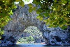 View of Pont d`Arc natural bridge in France stock image
