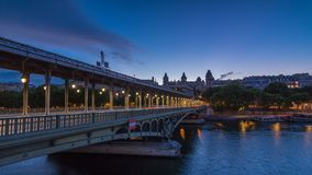 View of pont de Bir-Hakeim day to night timelapse - a bridge that crosses the Seine River. Paris, France. View of pont de Bir-Hakeim formerly pont de Passy day stock video