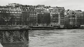 View from Pont de Bir-Hakeim in Paris with flooding of Seine River. View from Pont de Bir-Hakeim of French architecture and swollen river Seine embankments stock video footage