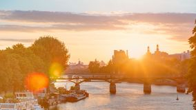 View on Pont des Arts in Paris at sunset timelapse, France stock footage