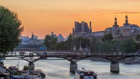 View on Pont des Arts in Paris at sunset timelapse, France