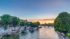 View on Pont des Arts in Paris at sunset timelapse, France stock video
