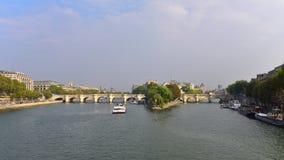 View of Pont Neuf arched stone bridge in Paris Stock Photo