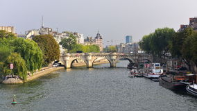 View of Pont Neuf arched stone bridge in Paris Royalty Free Stock Images