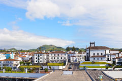 View on Ponta Delgada from the ocean pier, Azores, Portugal. Royalty Free Stock Photos